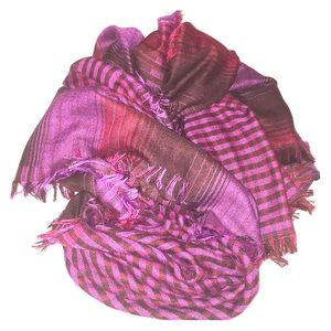 EDDIE BAUER purple plaid double print fringe scarf